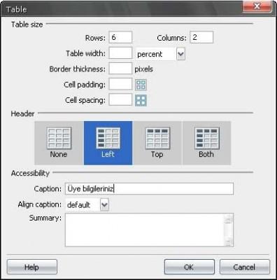 Dreamweaver Tablo ekle iletişim penceresi