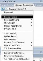 Applications paneli altında Server Behaviors sekmesi menüsü