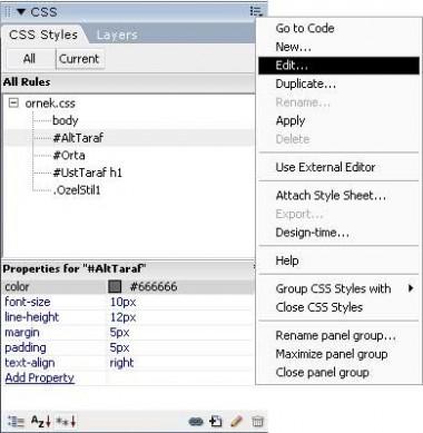 Dreamweaver CSS styles paneli