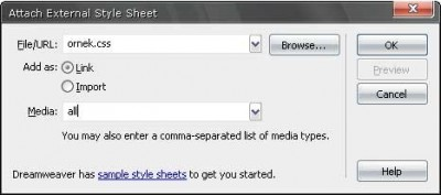 Harici CSS dosyasını doküman ile     ilişkilendirmek