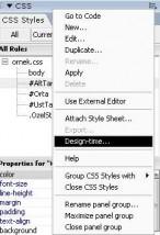 CSS panel müsünden Design Time seçeneğini seçiyoruz