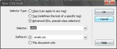 Dreamweaver Yeni bir text link yaratmak