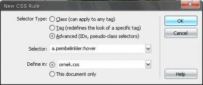 İkinci rollover text linkler için :hover stili özellikleri