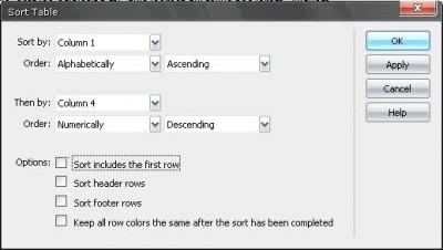 Tablo sıralama iletişim penceresi
