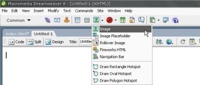 Dreamweaver Insert paneldeki Image düğmesi ile sayfanıza resim ekleyebilirsiniz
