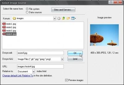 Dreamweaver Resim ekleme iletişim penceresi ile resim dosyamızın nerede olduğunu seçiyoruz