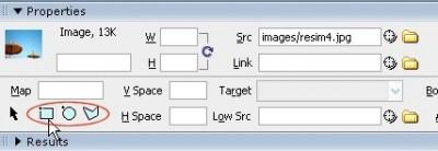 Properties panelinden resimlere Image map ekleyebiliriz