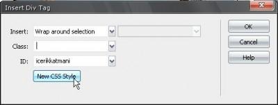 Insert DIV tag iletişim penceresi