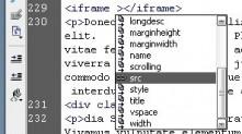 Dreamweaver iFrame için ilgili ayarları Code hints'ler sayesinde zahmetsizce yapabilirsiniz
