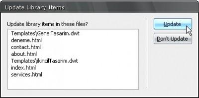 Bu kütüphane dosyasını kullanan doküman ve şablon dosyaları güncelleniyor