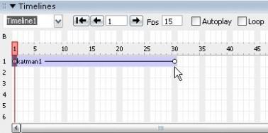 Dreamweaver Timelines panelinin obje eklendikten sonraki görünümü
