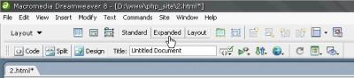Dreamweaver Düzenleri arası geçiş için Insert panel altındaki Layout sekmesindeki düğmeleri kullanabilirsiniz