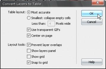 Layers to Table dönüşüm iletişim penceresi