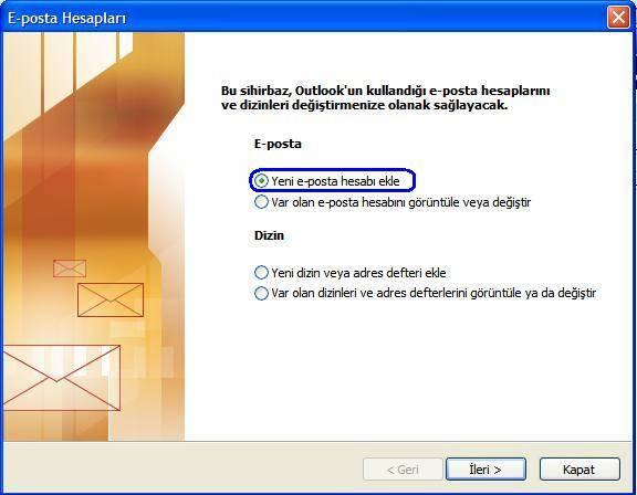 3. Yeni E-posta hesabı ekle ve ardından ileri seçilir.