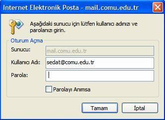 9. E-postaları indirmek için sizden parolanızı ister