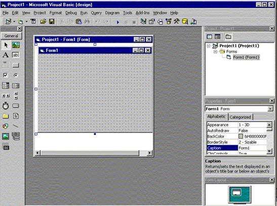 Visual Basic Proje Tasarım Penceresi