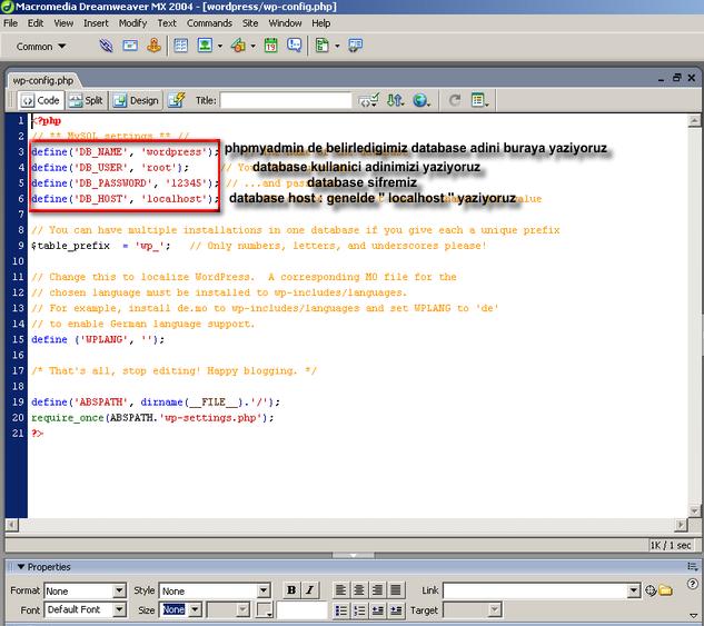 Wordpress wp-config dosya ayarı